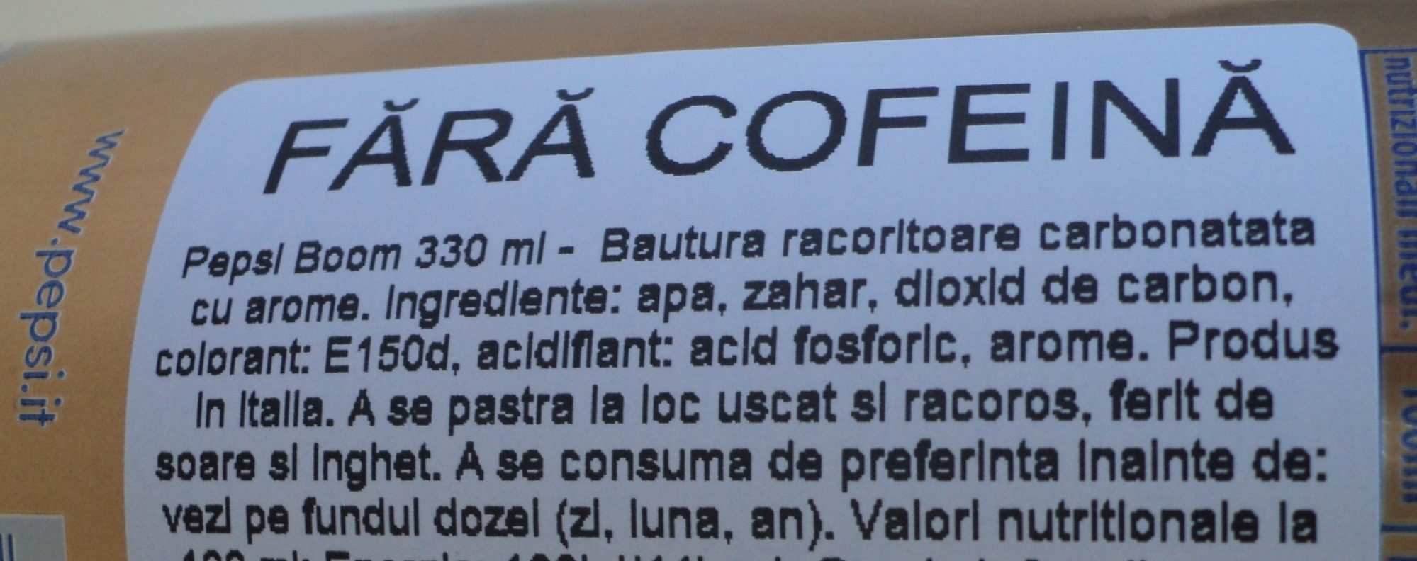 Pepsi S / Cafeina LL.375 - Ingredients