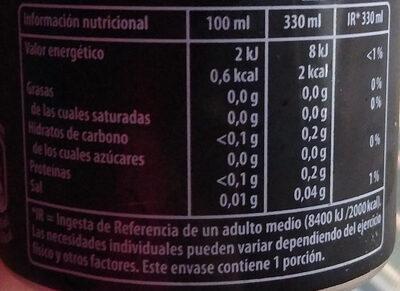 Pepsi Max - Informació nutricional