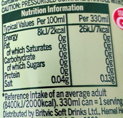7up Free - Informations nutritionnelles - en