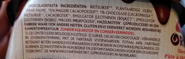 Penotti Chocopasta Fair Trade - Ingrediënten - nl