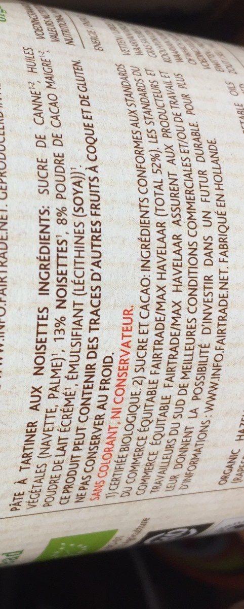 Pâte à tartiner aux noisettes - Ingrediënten - fr