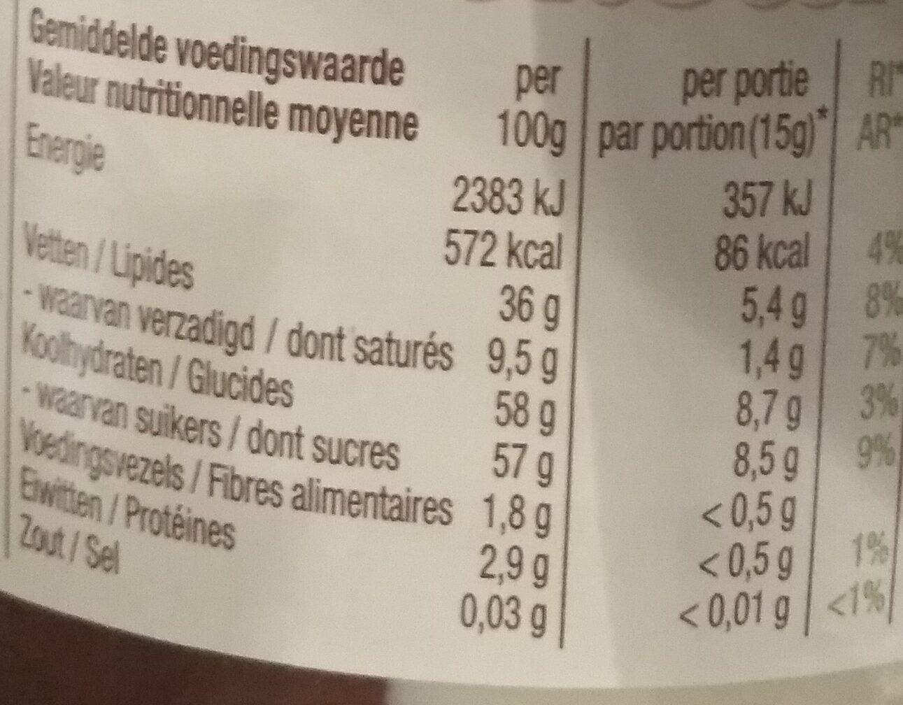 Duo Penotti Hazelnoot & Vanille - Voedingswaarden