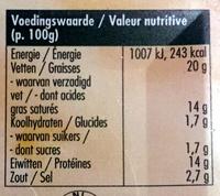 Goudkuipje naturel - Voedingswaarden - nl