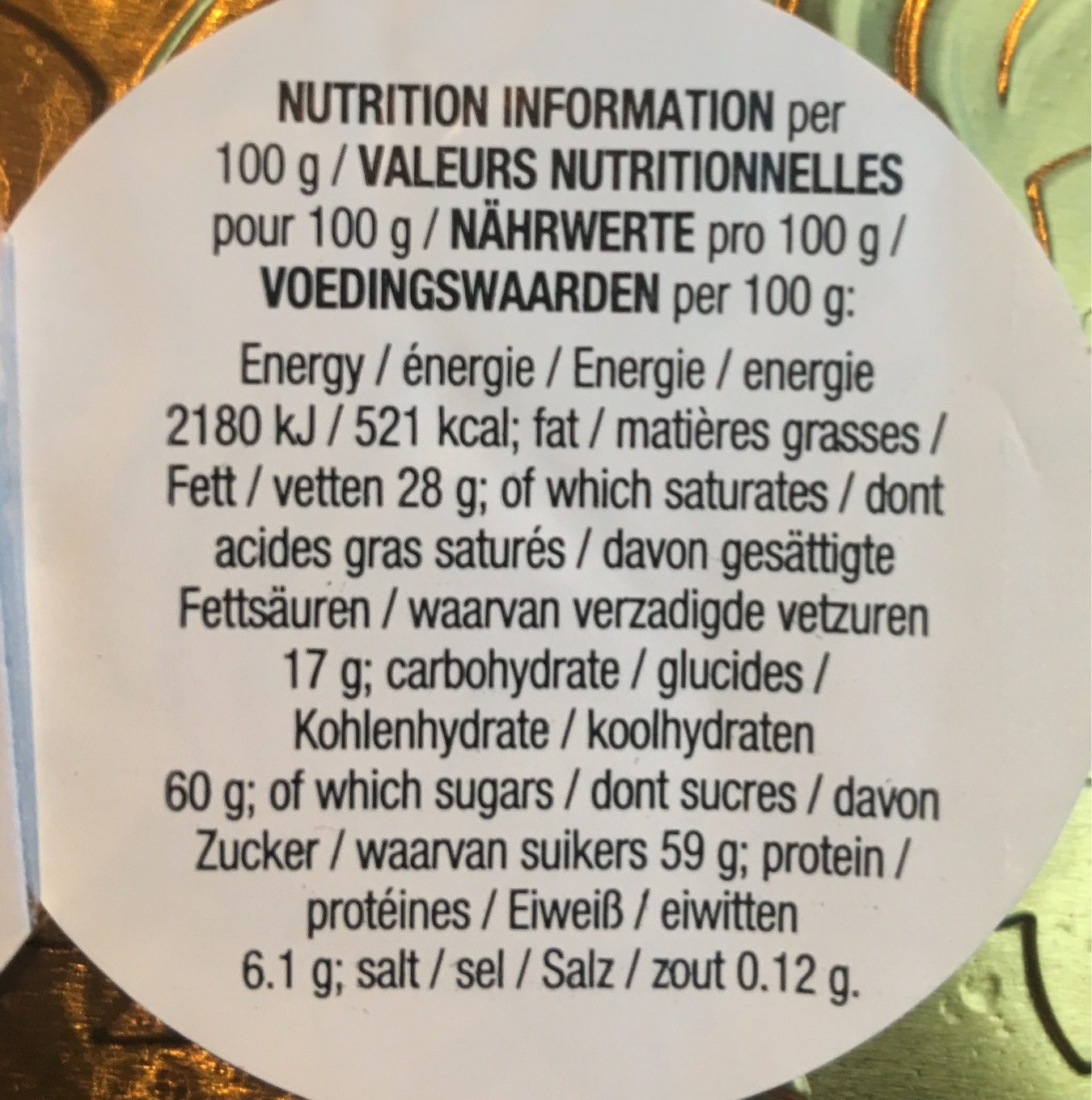 Milk Chocolate coin - Informations nutritionnelles - fr