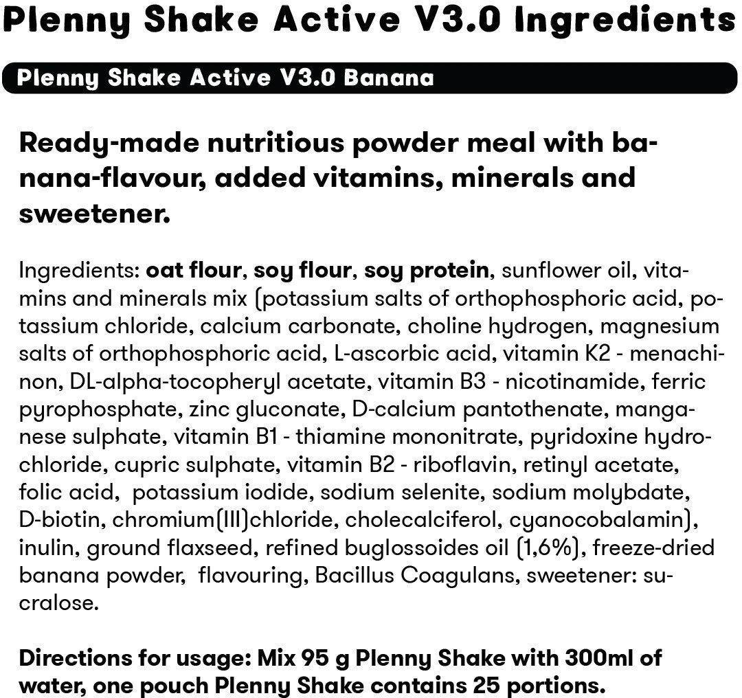 Plenny Shake Active - Ingredients - en