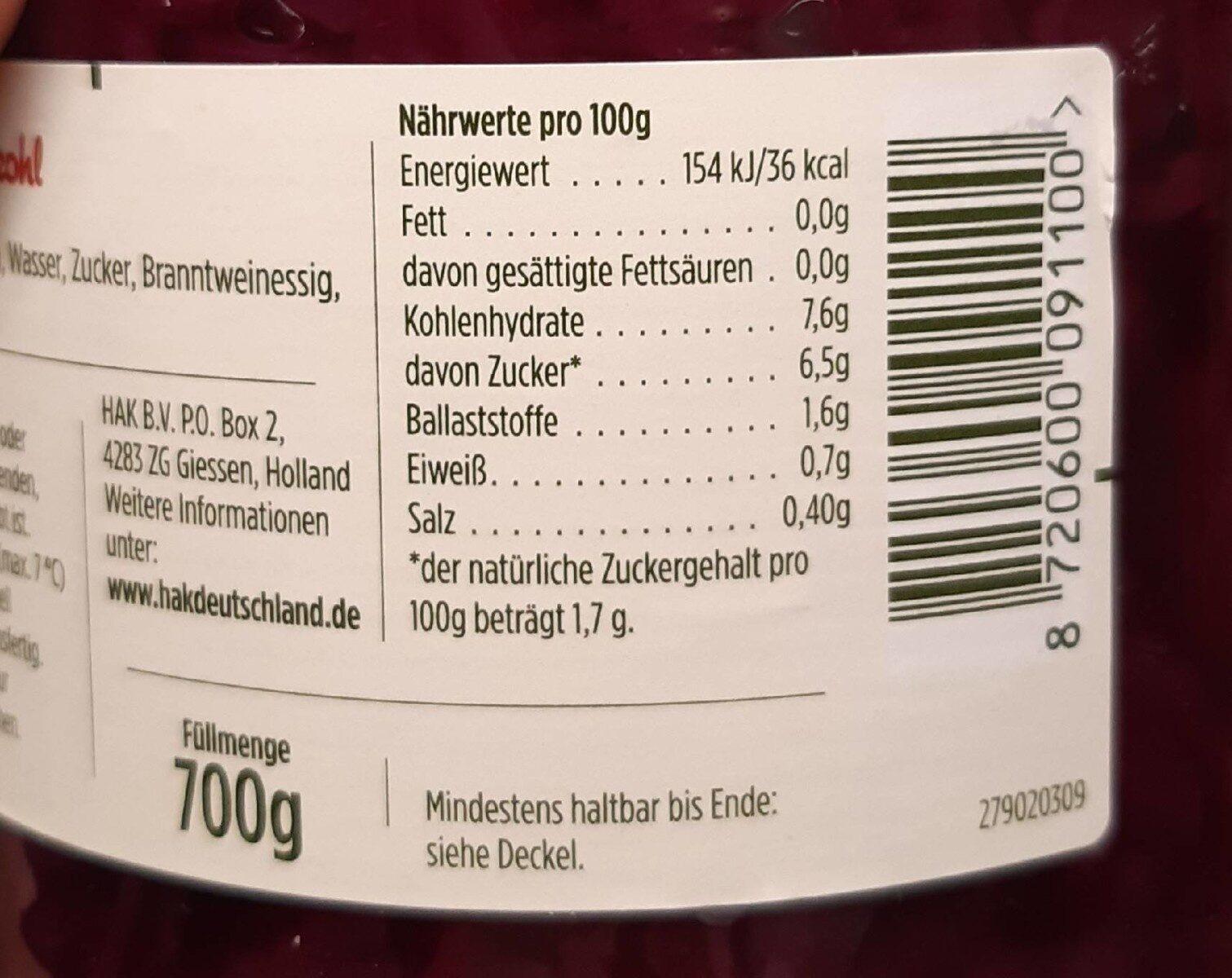 Choux Rouge - Nutrition facts - en