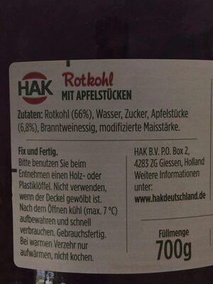 Rode kool - Ingredients