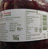 Rode kool met stukjes appel - Nutrition facts - en