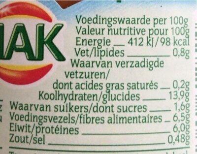 Bruine bonen - Voedingswaarden - en