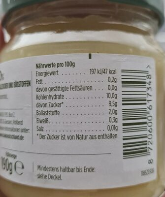 HAK Apfelmus - Valori nutrizionali - de