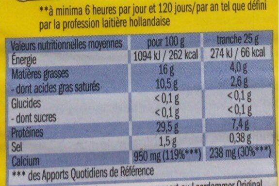 Leerdammer Léger (16% MG) - Nutrition facts - fr