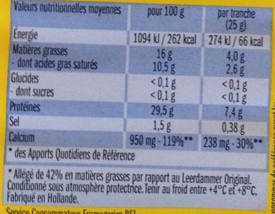 Leerdammer Léger (16% MG) - Informations nutritionnelles