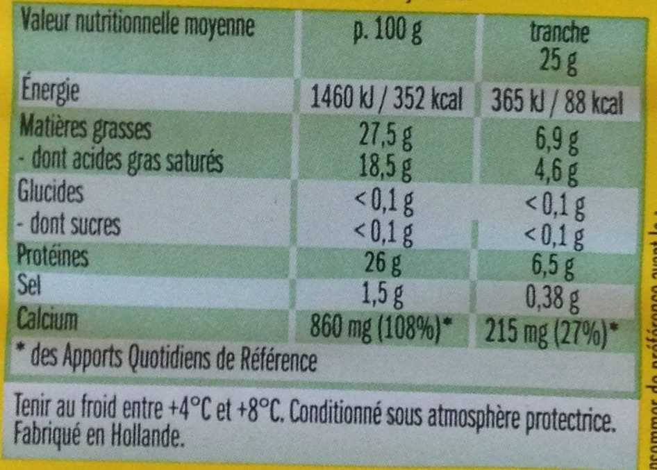 Leerdammer ® Original (27,5% MG) - 8 Tranches - 200 g - Informations nutritionnelles