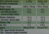 Leerdammer ® Original (27,5% MG) - 8 Tranches - 200 g - Nutrition facts