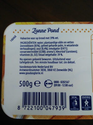Halvarine Zonne Pond - Ingrediënten - nl