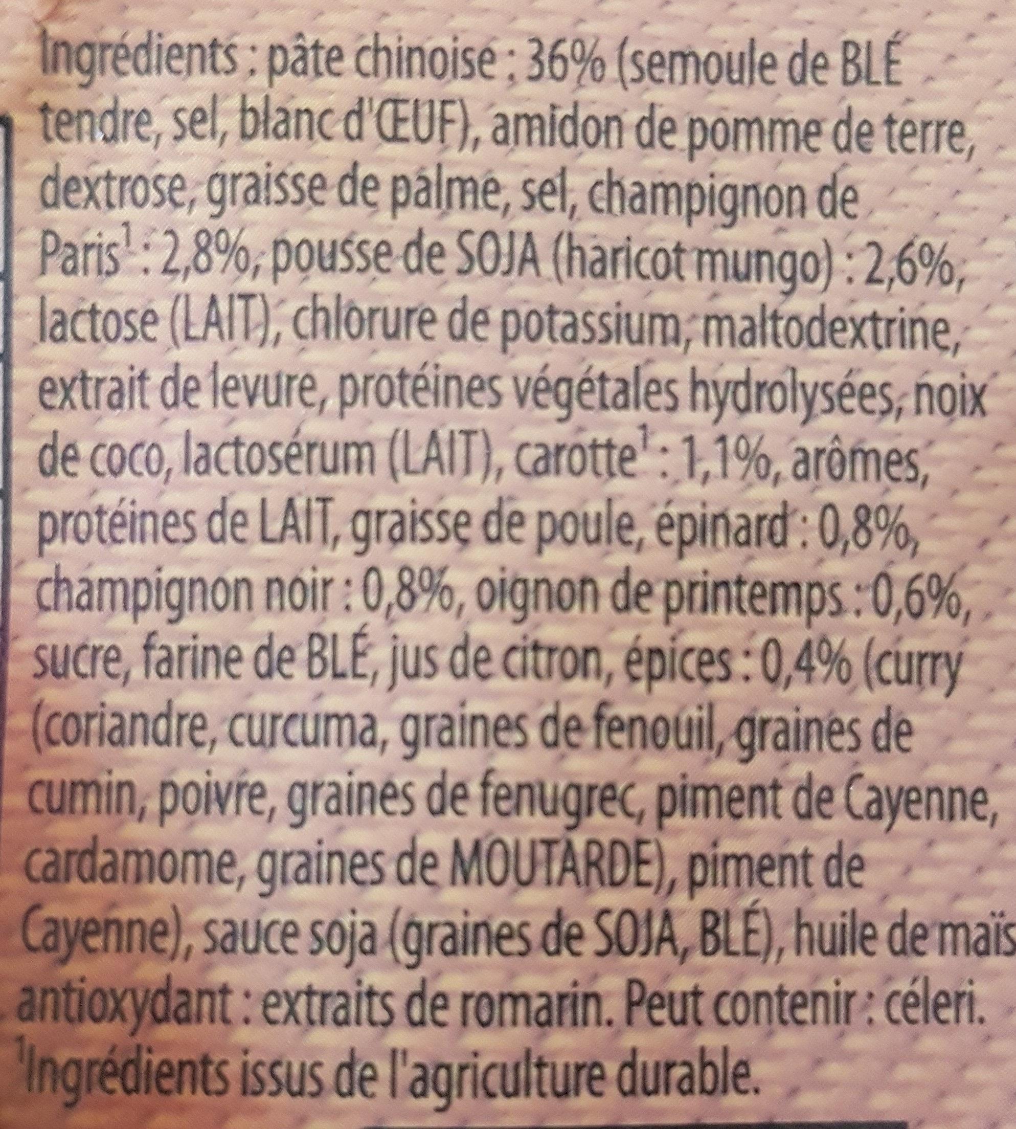 Soupe Thaï, nouilles-champignons & pousses soja - Ingredientes