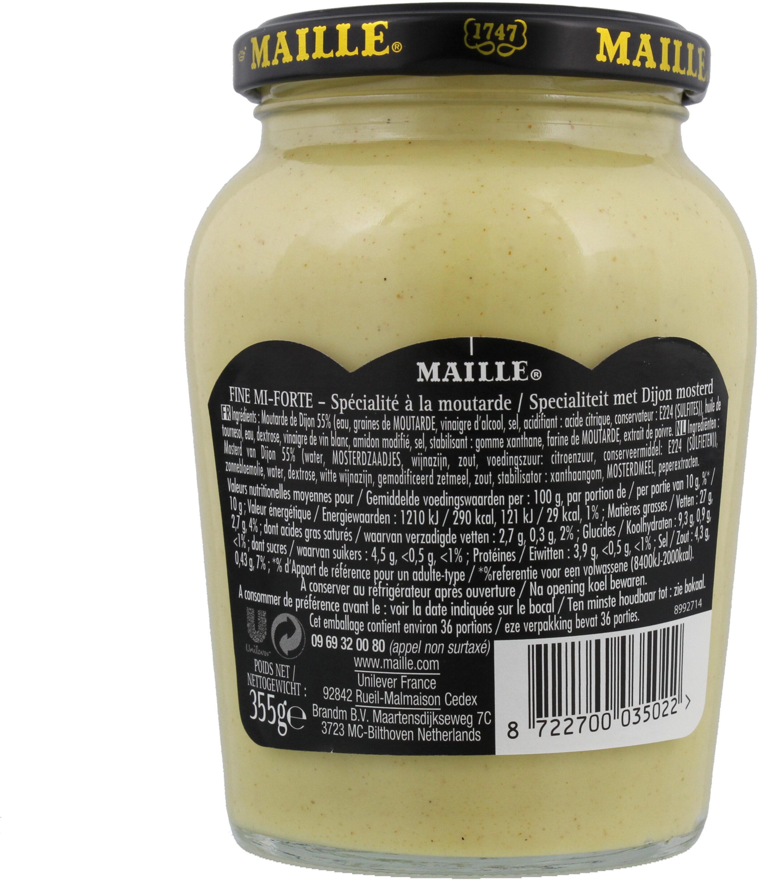 Maille Spécialité Moutarde Fine Mi-Forte Bocal 355g - Informations nutritionnelles - fr