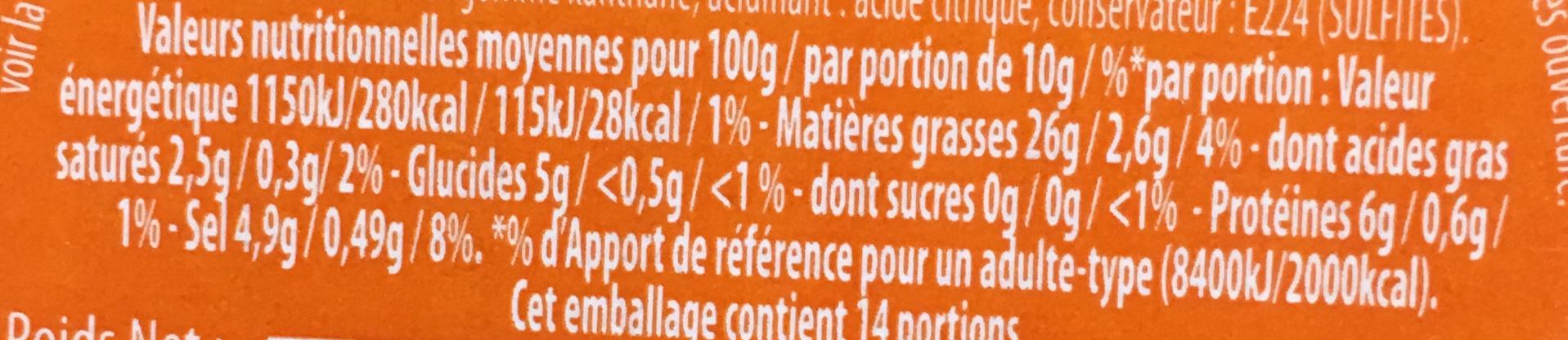 Amora Moutarde Mi-Forte Verre - Valori nutrizionali - fr