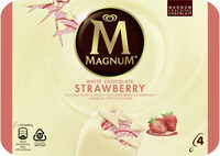 Magnum Batonnet Glace Chocolat Blanc Fraise x4 440ml - Produit - fr