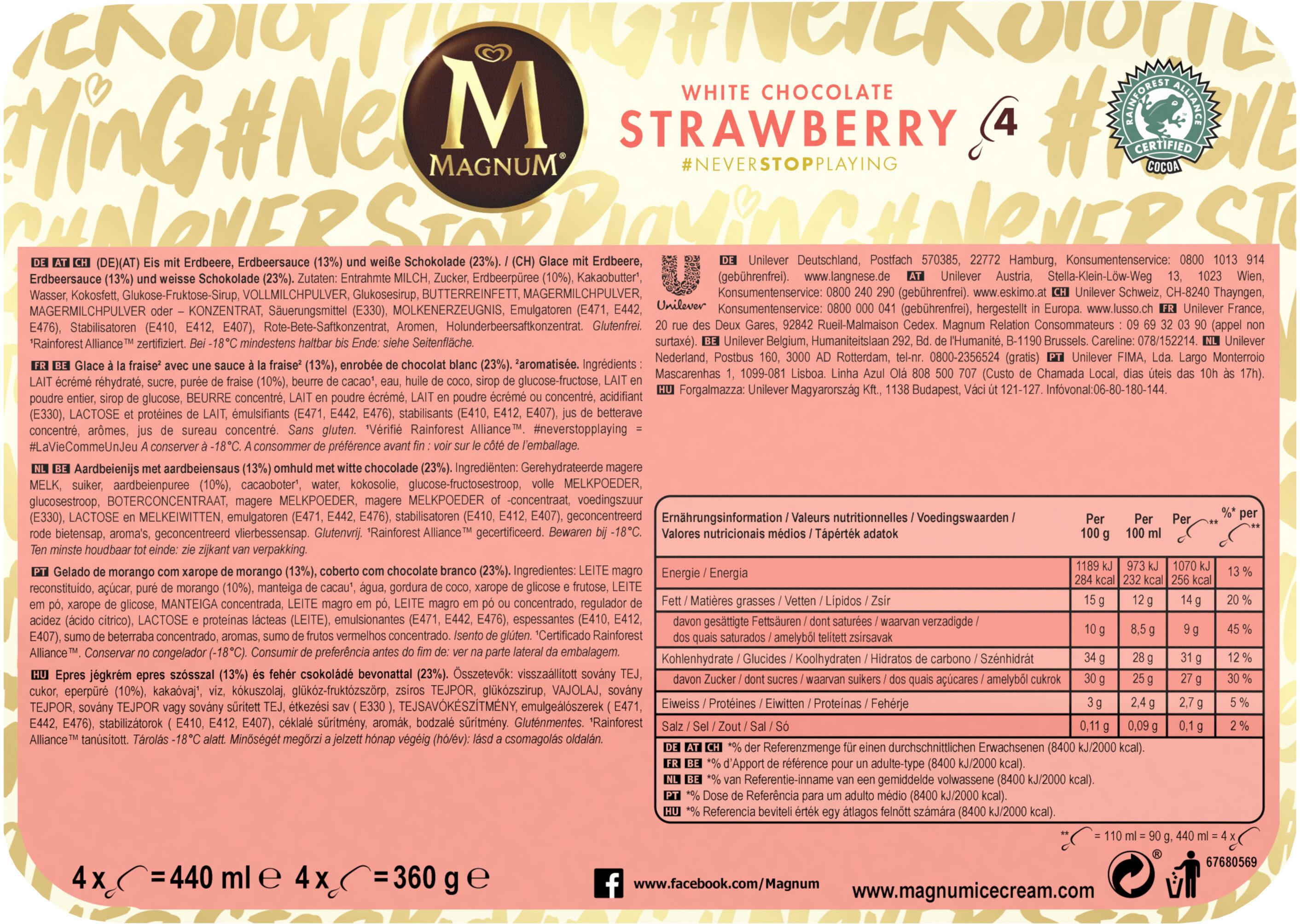 Magnum Batonnet Glace Chocolat Blanc Fraise x4 440ml - Informations nutritionnelles - fr