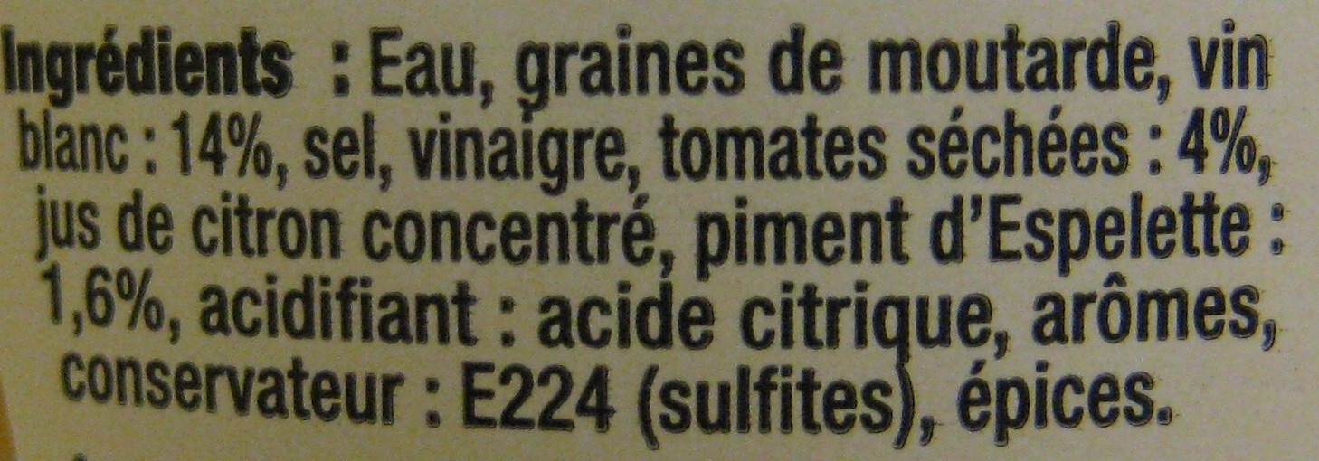 moutarde au vin blanc la tomate s ch e et piment d 39 espelette maille 215 g. Black Bedroom Furniture Sets. Home Design Ideas