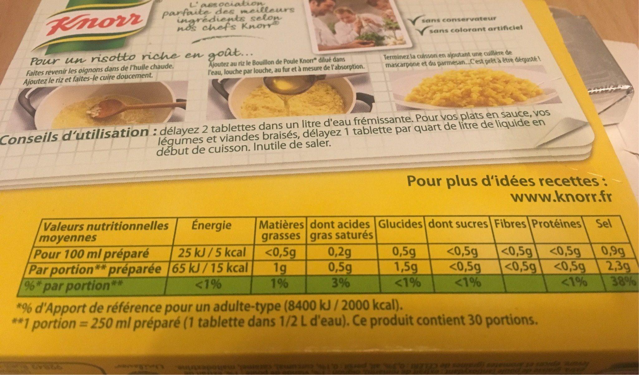 Knorr Bouillon Poule 15 Cubes Offre Saisonnière 150g - Informations nutritionnelles