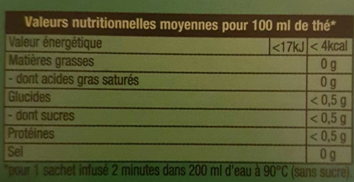 Lipton Thé Vert Mandarine Orange 20 Sachets - Voedingswaarden - fr