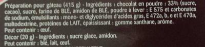 Moelleux au chocolat - Ingrediënten - fr