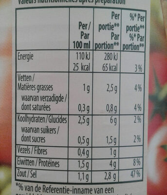 Groentensoep Met Balletjes+vermicelli 515ml - Voedingswaarden - fr