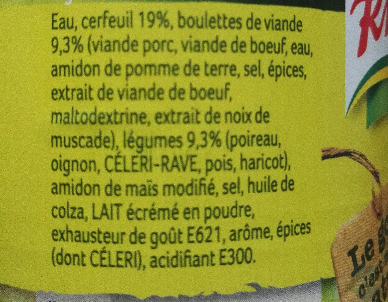 Soupe Cerfeuil avec Boulettes - Ingrédients - fr