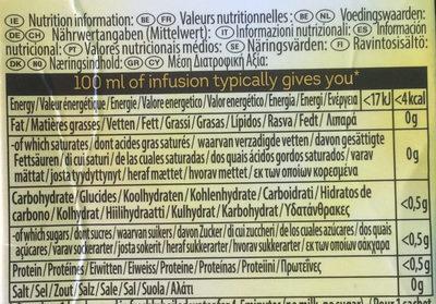 Herbal Infusion Camomile Tea Bags - Informação nutricional