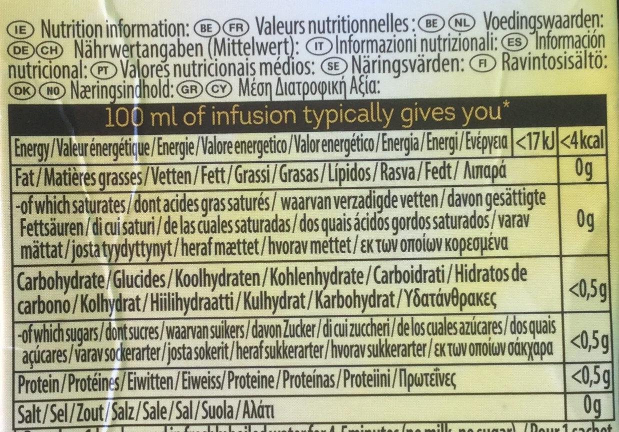 Herbal Infusion Camomile Tea Bags - Voedingswaarden