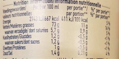 Hellmann's Real - Informations nutritionnelles