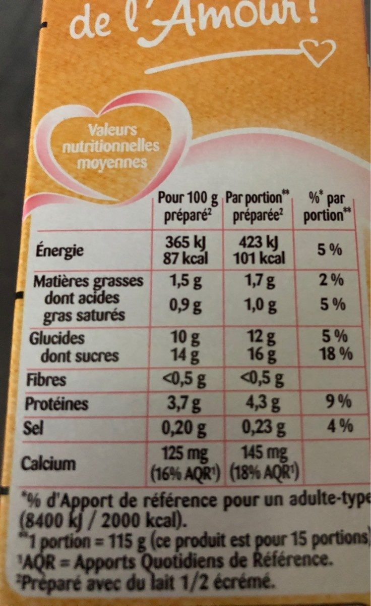 Flan entremets Caramel - Nutrition facts - fr