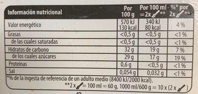 Helado sorbete de mandarinas tarrina - Información nutricional