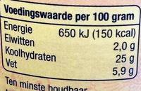 Sambal Brandal - Voedingswaarden - nl