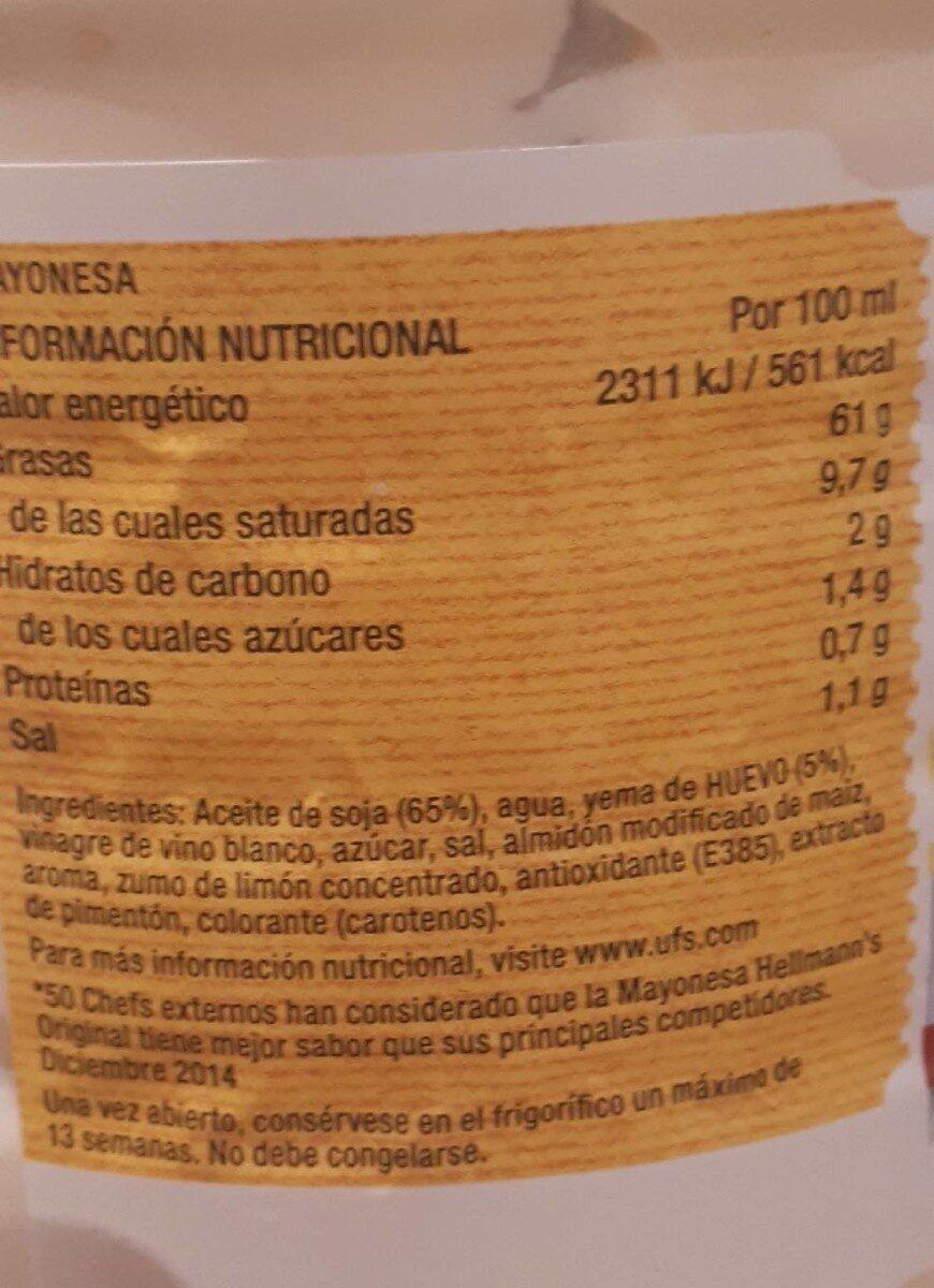 Mayonnaise original - Voedingswaarden