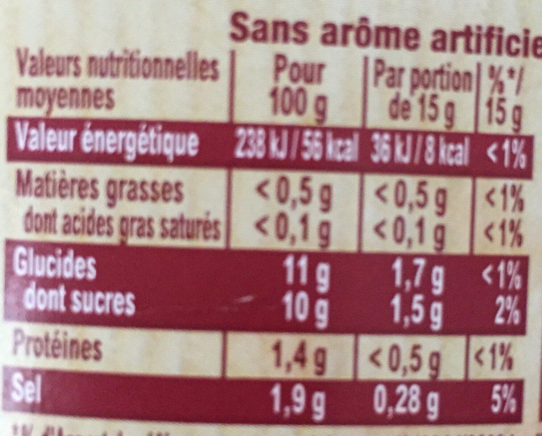 Amora Ketchup Plaisir+ Stevia Flacon Souple - Informazioni nutrizionali - fr