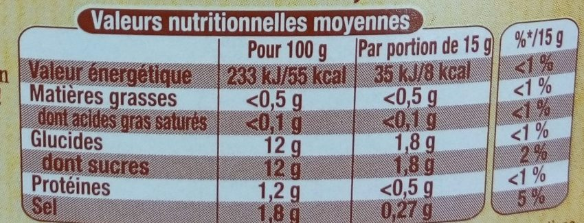Amora Ketchup Plaisir+ Stevia Flacon Souple 465g - Informations nutritionnelles