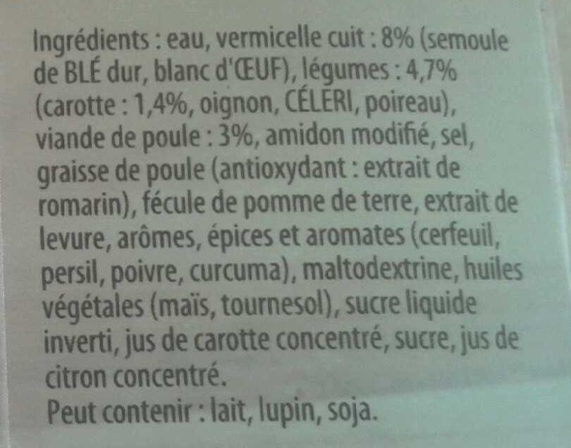 Knorr Saveurs d'Antan Soupe Poule Vermicelles Petits Légumes 1l - Ingrediënten - fr