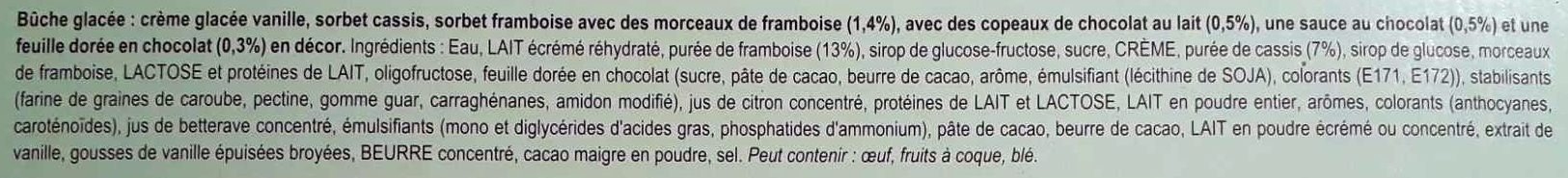 Bûche Tradition, vanille framboise cassis - Ingredients