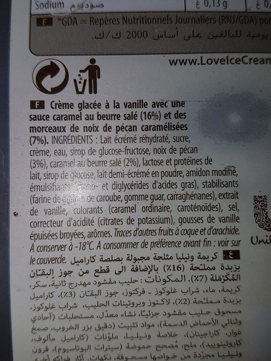 900ML Glace Carte D'or Sensation Douceur Vanille / Noix Pecan - Ingrédients - fr
