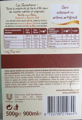 900ML Glace Carte D'or Sensation Douceur Vanille / Noix Pecan - Informations nutritionnelles - fr