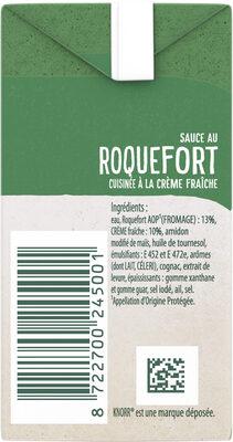 Knorr Les Moments Gourmets Sauce Chaude Roquefort Cuisinée à La Crème Fraîche Brique 30cl - Ingrediënten - fr