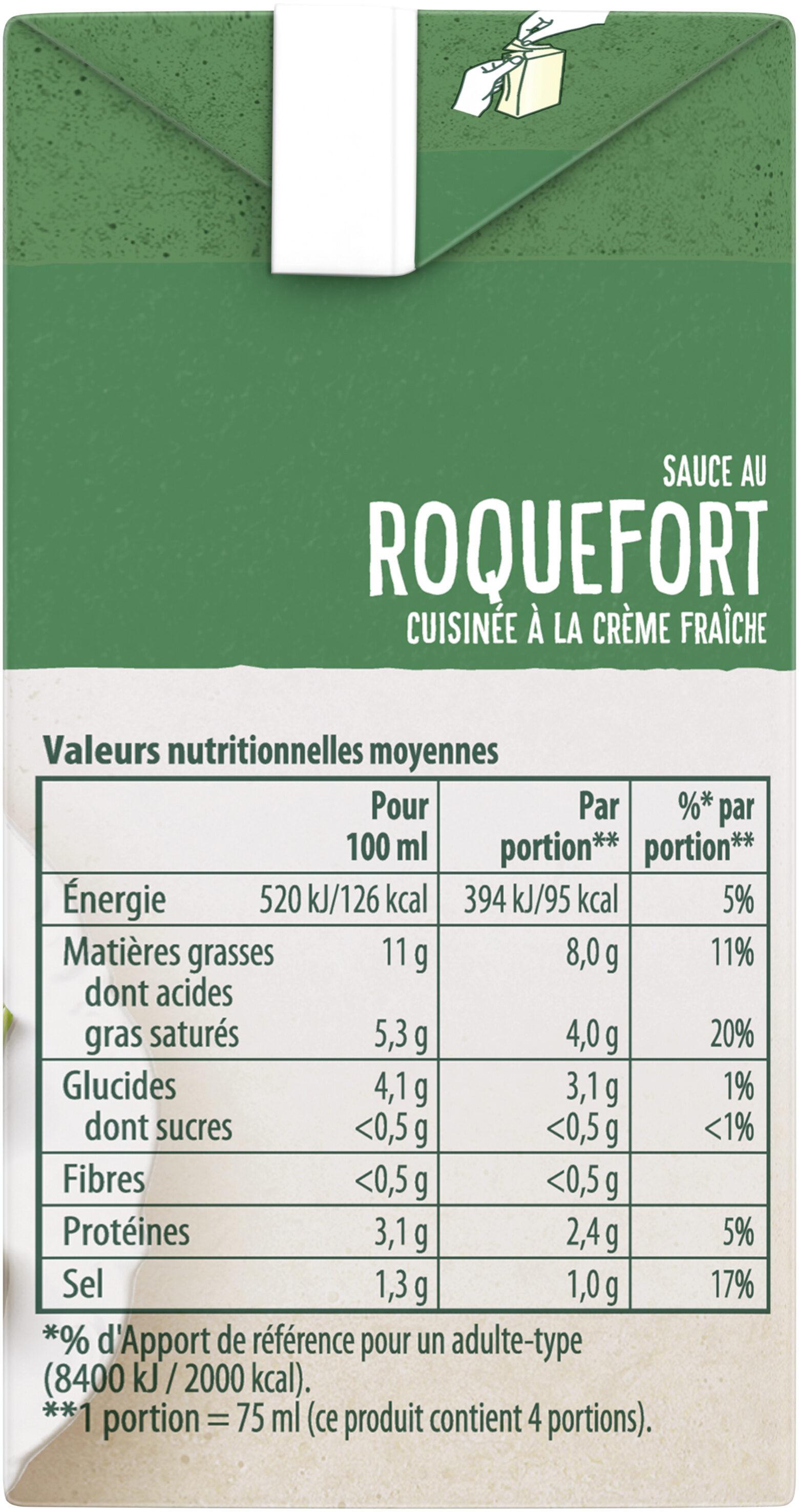 Knorr Les Moments Gourmets Sauce Chaude Roquefort Cuisinée à La Crème Fraîche Brique 30cl - Voedingswaarden - fr