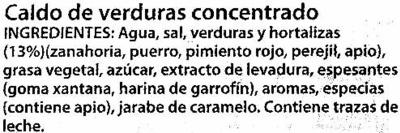 Caldo vegetal cacitos tarrinas - Ingredientes