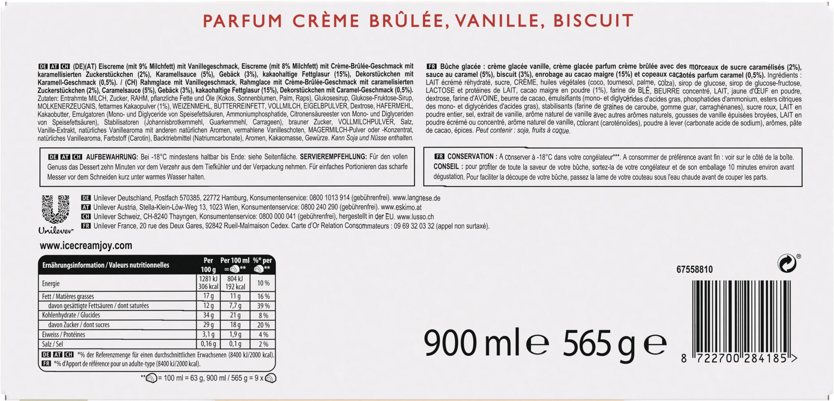 Carte D'or Collection Buche Glacée Façon Crème Brûlée 9 parts 900ml - Ingredients