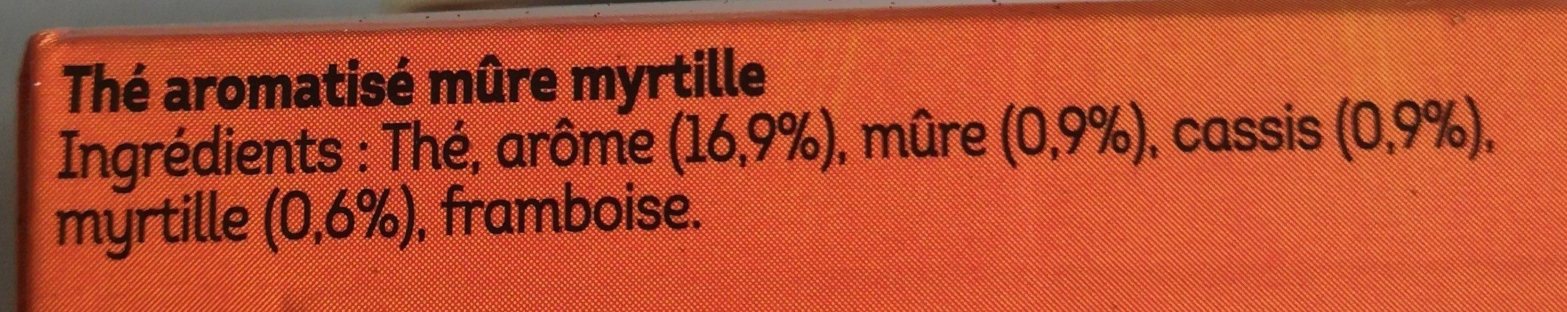 Lipton Thé Mure Myrtille 20 Sachets - Ingredients - fr