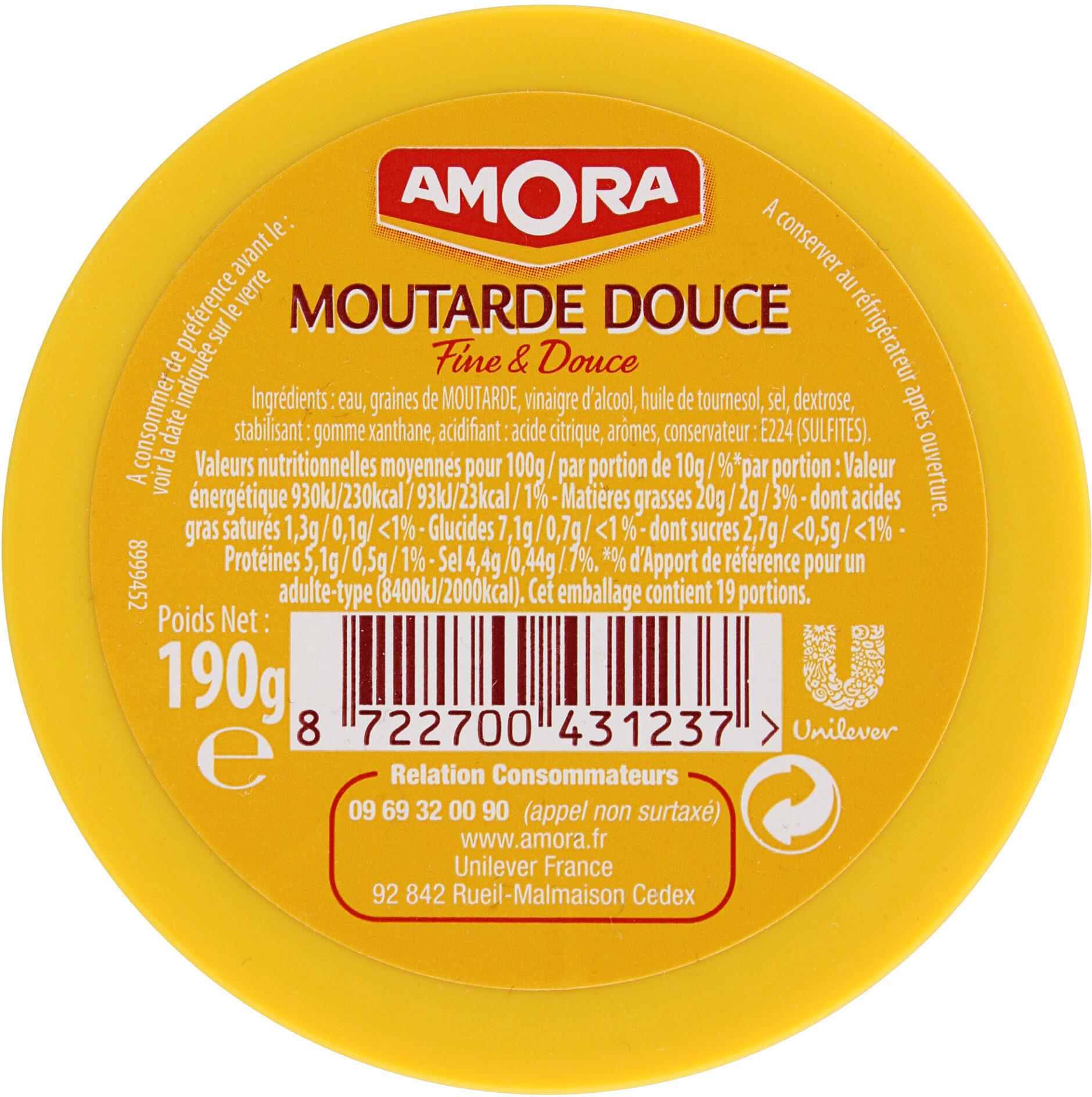 Amora Moutarde Douce Verre TV 190g - Ingredients - fr