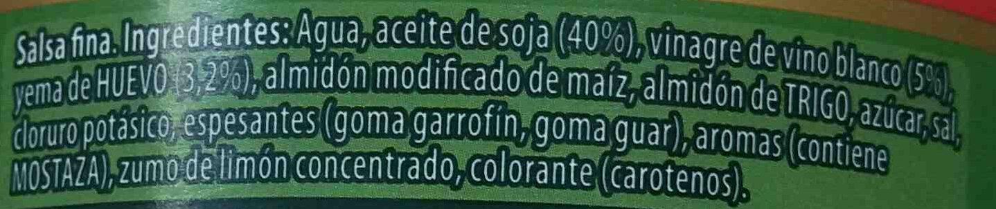 Salsa Calve Casera Mayonesa 650ML - Ingredients - es